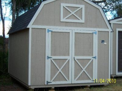 Lofted Barn 12' x 16' in tan and white