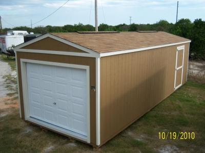 12' x 30' Utility garage in Brown with white trim