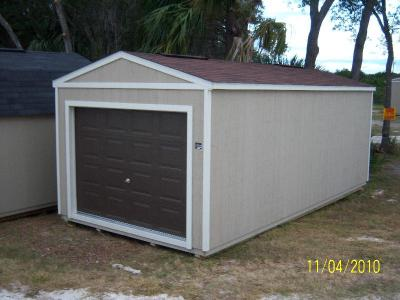 12' x 24' Utility Garage in tan and white